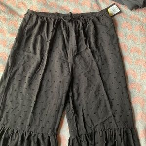 flare cotton black polka dot pants